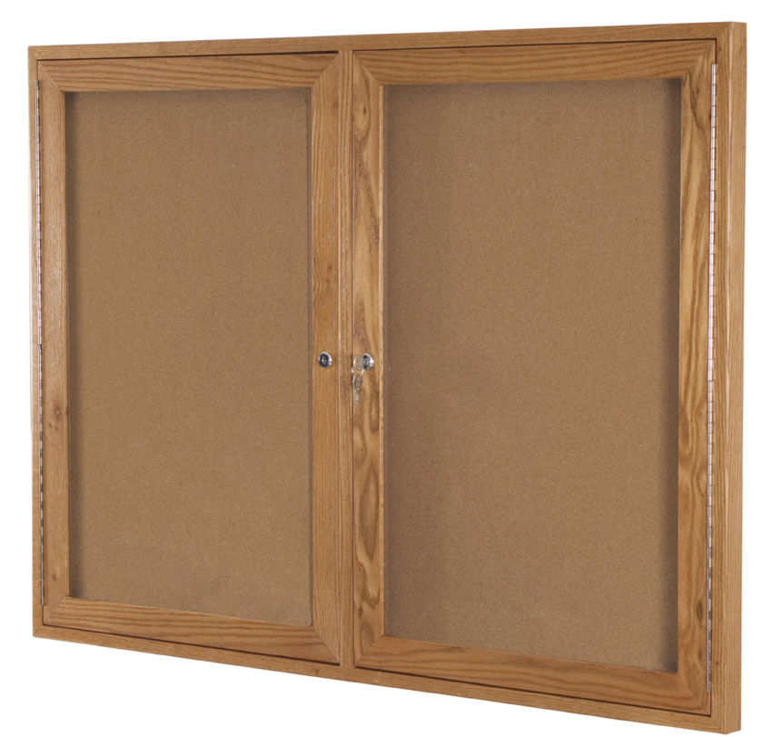 Enclosed Bulletin Board Cabinet 36''H x 72''W - 2 Hinged ...