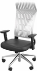 FLY HIGH BACK CHAIR WHITE WITH ADJ ARMS, ALUM BASE