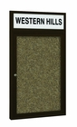 Outdoor Enclosed Headline Bulletin Board Cabinets - Coffee Finish