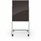 Visionary Move Mobile Black Magnetic Glass Whiteboard
