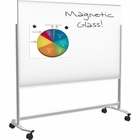 Visionary Move Mobile Magnetic Glass Whiteboard 4'H x 6'W