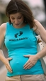 "2 Chix ""What's Kickin'""-Aqua Maternity Tank Top"