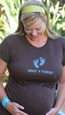 "2 Chix ""What's Kickin'""-Blue Feet Voluptuous Maternity T-Shirt"