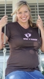 "2 Chix ""What's Kickin'""-Pink Feet Voluptuous Maternity T-Shirt"