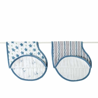 Aden + Anais Classic Burpy Bibs 2 Pack - Prince Charming Star & Blue Stripe