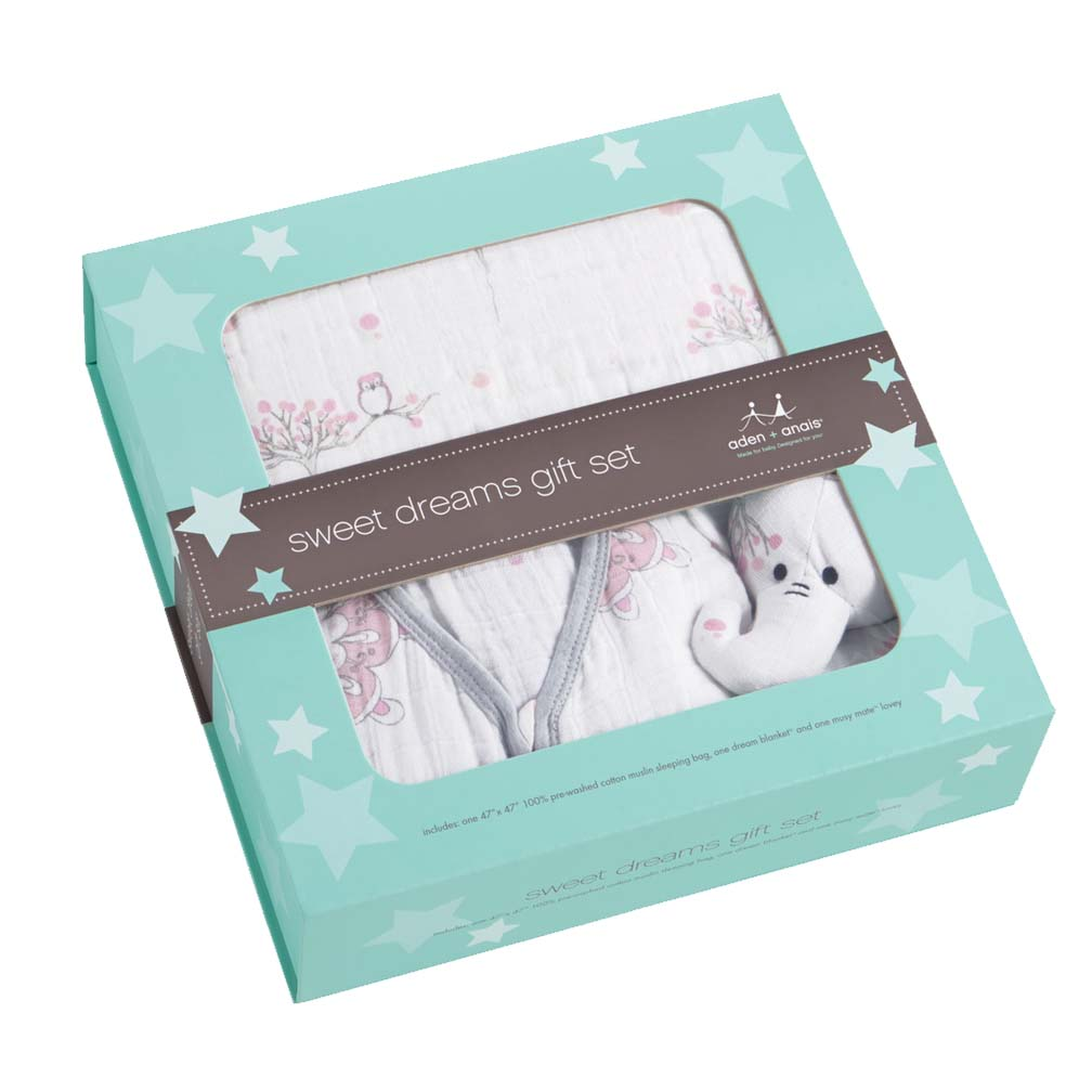 Buy > > aden + anais® Lullaby Gift Set in Tranquility Pink at BuyBuyBaby. The Lullaby Gift Set from aden + anais is the ultimate trio for keeping baby comfy and secure. Made of irresistibly soft viscose, this adorable set includes 2 swaddles and 1 musy mate, sure to be baby's favorite companion.