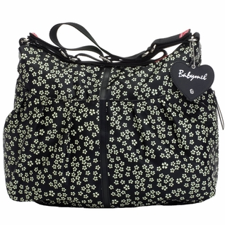 SOLD OUT Babymel Amanda Hobo Diaper Bag - Mini Daisy Black/White