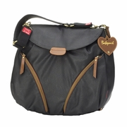 Babymel Ruby Rucksack Diaper Bag - Black/Tan Faux Leather