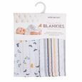 Bebe au Lait Muslin Blankies Set - Grey/Orange