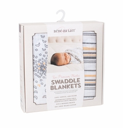 Bebe au Lait Muslin Swaddle Blanket Set - Grey/Orange