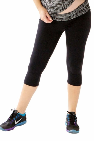 TEMPORARILY OUT OF STOCK Belabumbum Active Collection Convertible Maternity Capri Active Pant