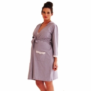 Belabumbum Dottie Lace Trim Maternity And Nursing Robe