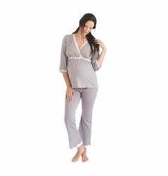Belabumbum Dottie Lace Trim Maternity Nursing Pajama Lounge Set