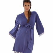 Belabumbum Ikat Lace Trim Maternity Nursing Robe