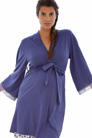 TEMPORARILY OUT OF STOCK Belabumbum Ikat Lace Trim Maternity Nursing Robe