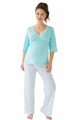 Belabumbum Ondine Maternity Nursing Tunic And Pant Lounge Pajama Set