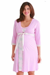 Belabumbum Pink Mum Maternity And Nursing Robe