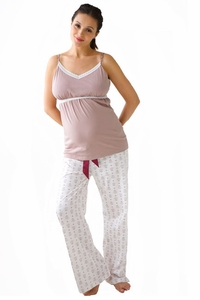SOLD OUT Belabumbum Queen Bee Maternity And Nursing Pajama Pants And Cami Set