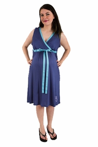 TEMPORARILY OUT OF STOCK BG & Co Birthing Hospital Gown Nursing Night Gown - Sea Breeze