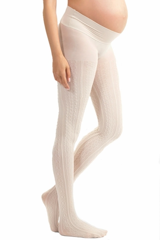 "SOLD OUT Blanqi Cable Knit ""Uptown Girl"" Low Rise Belly Support Band Maternity Tights"