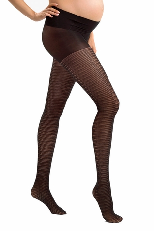 Blanqi Mesh Stripe Low Rise Belly Support Band Maternity Tights