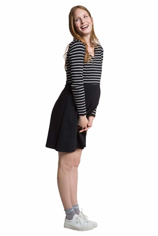 Boob Simone Maternity Nursing Long Sleeved Dress - Striped Bodice Solid Skirt