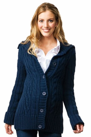 Crave Chunky Cable Fisherman Cardigan Maternity Sweater