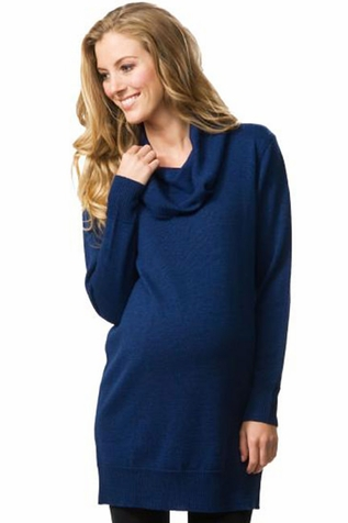 SOLD OUT Crave Drape Front Merino Wool Maternity Tunic Sweater