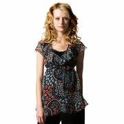 Crave Fluted Neck Floral Print Maternity Blouse
