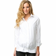 Crave Long Sleeve Tie Belt Career Maternity Shirt