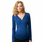Crave Pleat Neck Long Sleeve Maternity Top