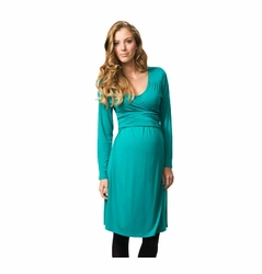 Crave Scoop Neck Maternity Wrap Dress