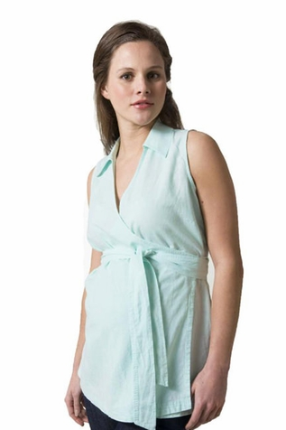 SOLD OUT Crave Sleeveless Cotton Linen Wrap Maternity Top