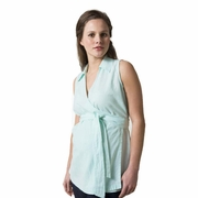 Crave Sleeveless Cotton Linen Wrap Maternity Top