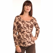 Due Chocolate Floral Scoop Neck Maternity Top - FINAL SALE