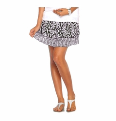 Due Maternity Abigail Pregnancy And Beyond Tiered Skirt - Black/White