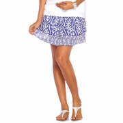 Due Maternity Abigail Pregnancy And Beyond Tiered Skirt  - Blue/White