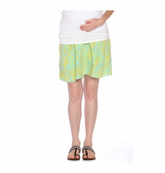 Due Maternity Abigail Pregnancy And Beyond Tiered Skirt - Blue/Yellow