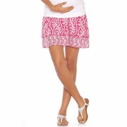 Due Maternity Abigail Pregnancy And Beyond Tiered Skirt  - Magenta/White