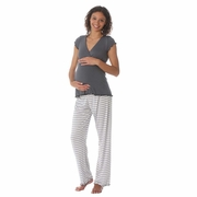 Due Maternity by Majamas Genna Maternity Nursing Pajama Set - Gunmetal/Boardwalk