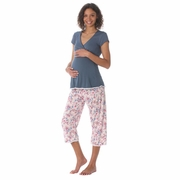 Due Maternity by Majamas Lacey Maternity Nursing Pajama Set - Tempest/English Rose
