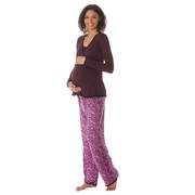 Due Maternity by Majamas Margo Nursing Pajama Set - Andora/Pink Leopard