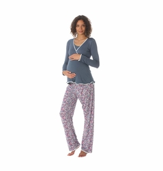 Due Maternity by Majamas Margo Nursing Pajama Set - Tempest/Bacca