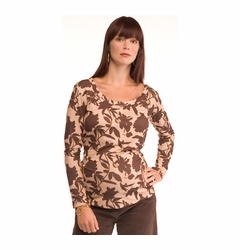 Due Maternity Chocolate Floral Scoop Neck Maternity Top - FINAL SALE