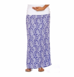 Due Maternity Isabella Pregnancy And Beyond Maxi Skirt  - Blue/White