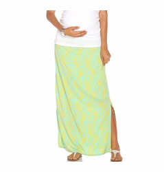 Due Maternity Isabella Pregnancy And Beyond Maxi Skirt  - Blue/Yellow