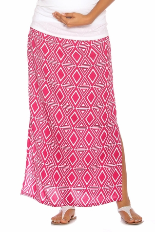 Due Maternity Isabella Pregnancy And Beyond Maxi Skirt  - Magenta/White