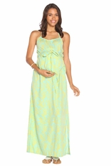 Due Maternity Lauren Pregnancy And Beyond Maxi Dress  - Blue/Yellow