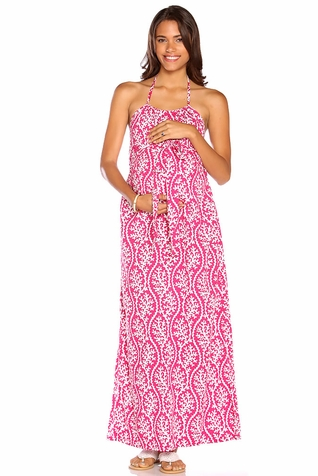 Due Maternity Lauren Pregnancy And Beyond Maxi Dress  - Magenta/White