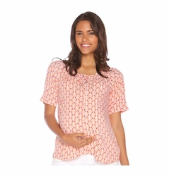 Due Maternity Macy Pregnancy And Beyond Button Front Top - Fuchsia/Orange